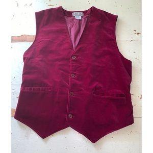 vintage Chess King blood red velvet vest